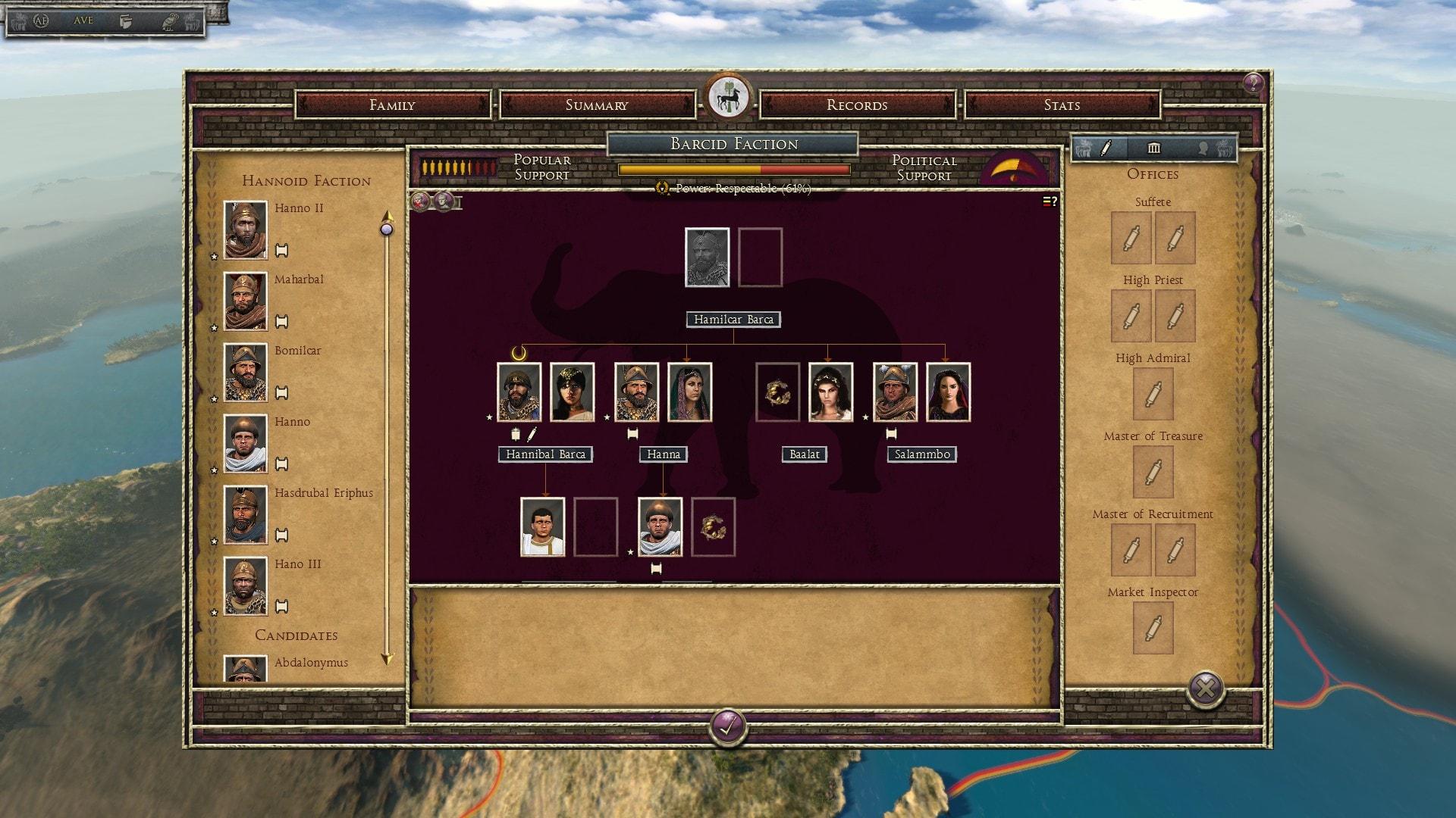 Suites de personnages et arbre généalogique dans le mod Ancient